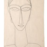 """Amedeo Modigliani, """"Testa"""", Collezione Sforni, Villa Necchi Campiglio (Milano)"""