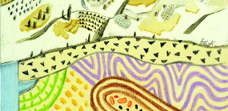 Tullio Pericoli, Geologia, 2001, cm 37x29, inchiostro, acquerello e pastello su carta.