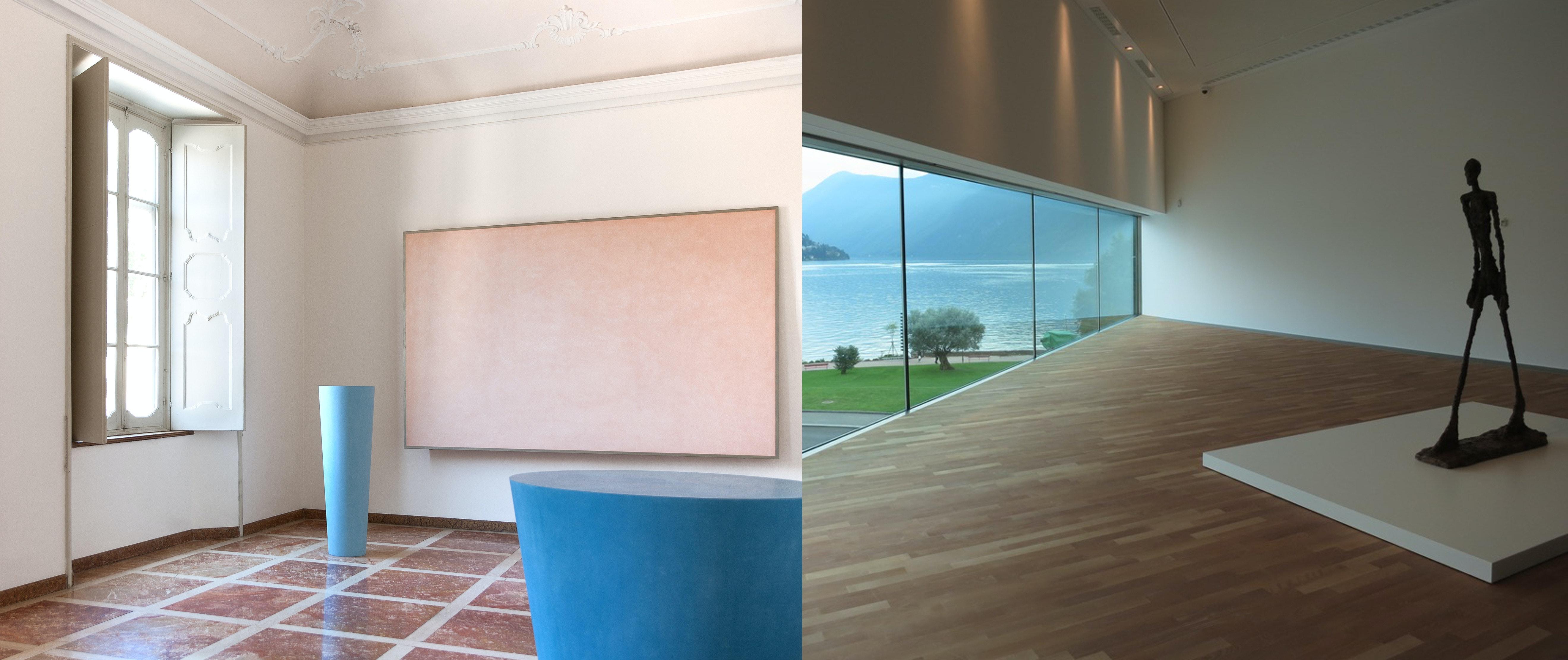 A sinistra la Sala Spalletti a Villa e Collezione Panza, Varese. A destra scultura di Alberto Giacometti al LAC di Lugano.
