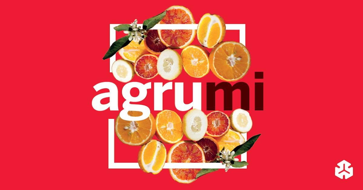 il logo della fiera un quadrato con agrumi tagliati e la scritta al centro AgruMi